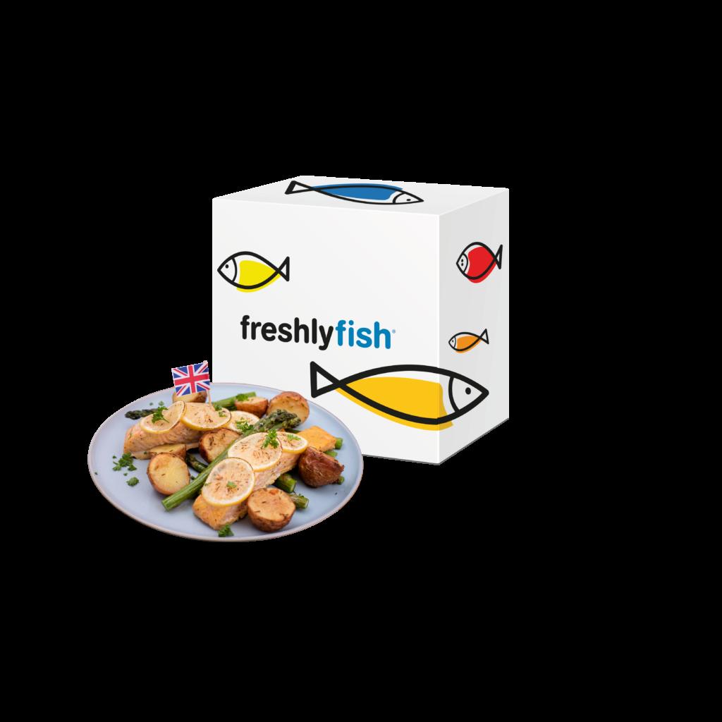 Freshly Fish september visbox met bord