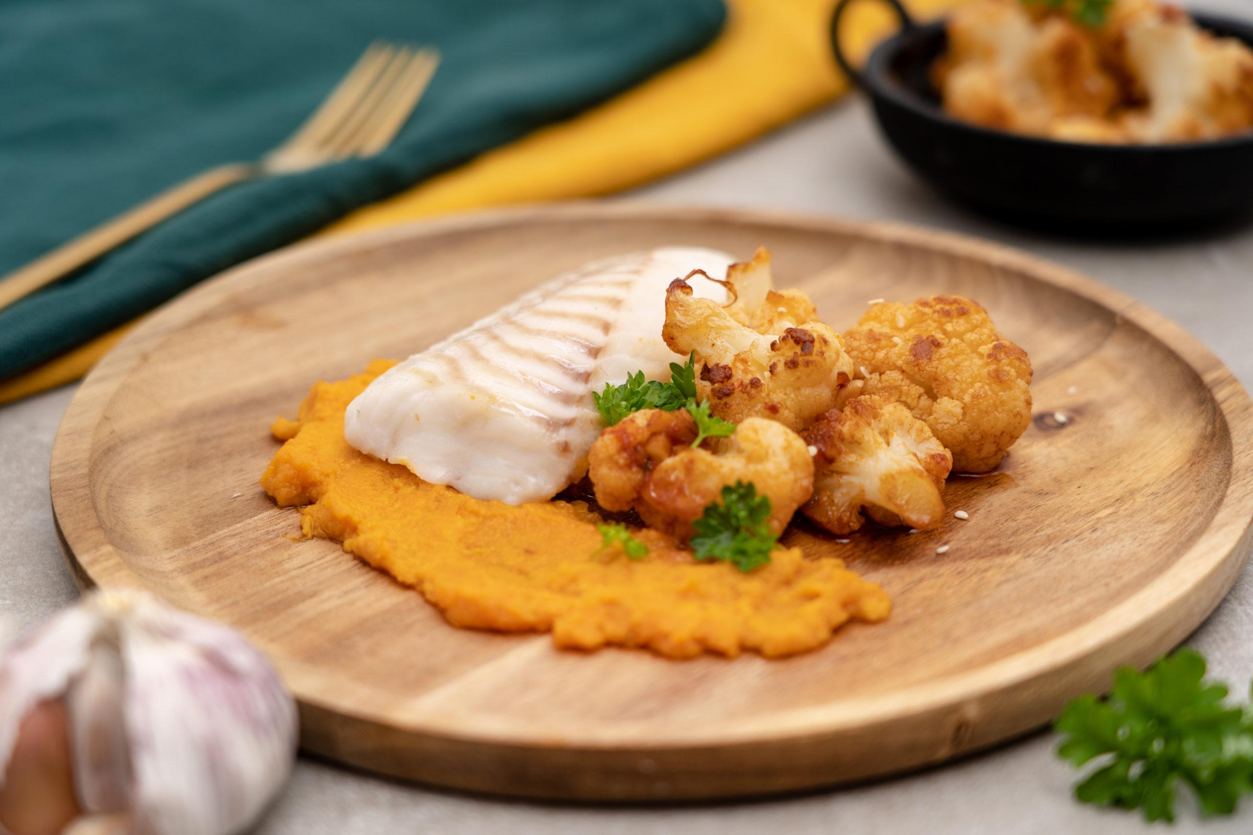 Kabeljauw met zoete aardappelpuree
