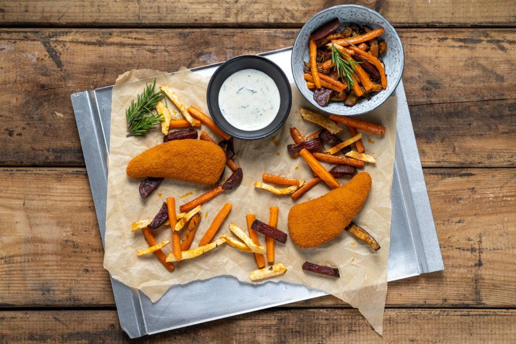 Crunchy kabeljauwschnitzel met groentefriet